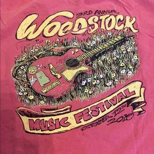 Comfort Colors Shirts - Woodstock AL music festival T-shirt. Pink size 2XL